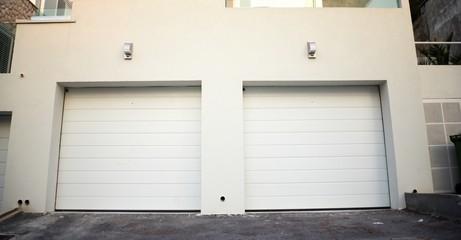 Garage doors at a modern building