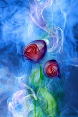 Flower smoke on blue background