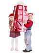 Children in Santa hat with gift box .