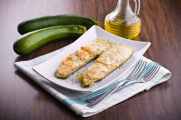 Zucchini stuffed with cheese.