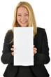 Junge Geschäftsfrau mit leerem Schild