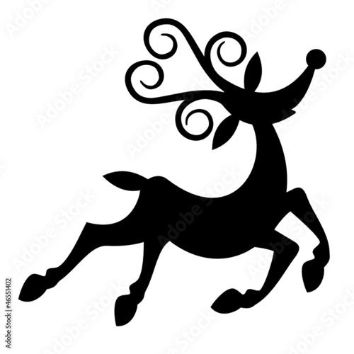 Cartoon style Christmas reindeer black silhouette.