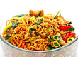 Thai food, spicy fried noodle with pork