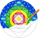 Paint brush painting a rainbow colored mandala.