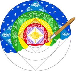 Paint brush painting a rainbow colored mandala.