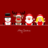 Fototapety Xmas Sitting Snowman, Rudolph, Santa & Angel Red Background