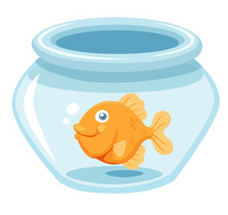 illustration of Goldfish in a bowl.Vector