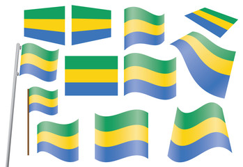 set of flags of Gabon vector illustration