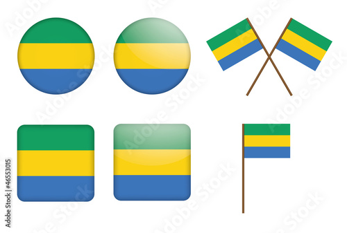 set of badges with flag of Gabon vector illustration