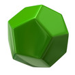 Illustration of green dodecahedron on white background