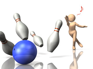 I am glad to make a strike in bowling.