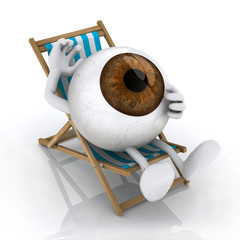the big eye lying on beach chair