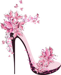 Shoes on a high heel decorated with butterflies