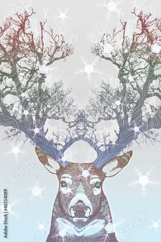 Frozen tree horn deer - 46554089