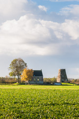 Dutch autumn landscape with a capless windmill