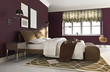 Elegant dark red luxury bedroom. contemporary paris style side