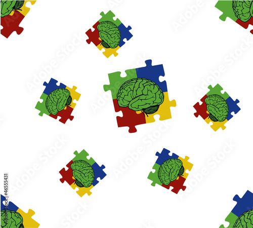 background with puzzle and brain parts