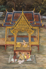 Art thai painting on wall in temple,bangkok,thailand