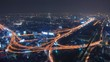 Bangkok Expressway and Highway top view at dusk, Thailand
