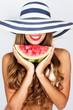 beautiful woman with watermelon