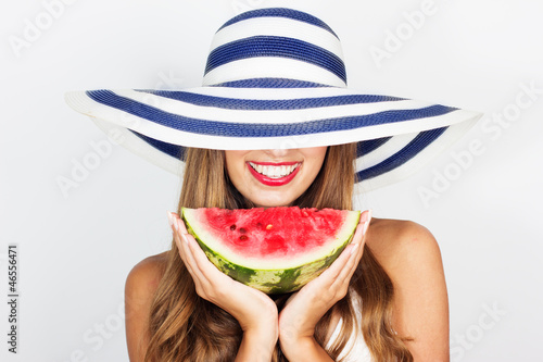 Beautiful girl with watermelon