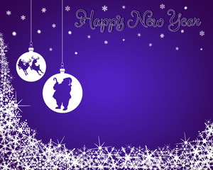 New Year Background with Santa & Reindeer