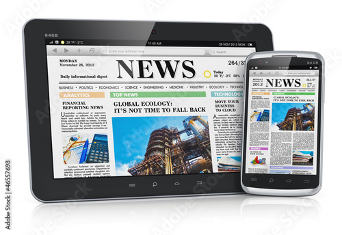 Tablet PC and smartphone with business news