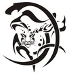 Tribal snow leopard head symbol