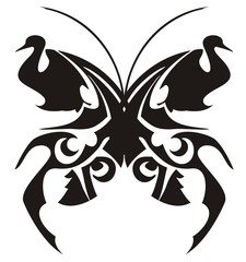 Tribal butterfly tattoo, vector. Wing in the form of a bird