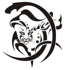 Tribal snow leopard head symbol