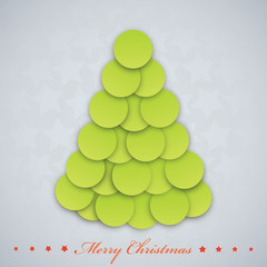 Vector modern Christmas tree. Xmas card.