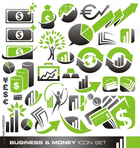 Business and money icon set and logo design concepts