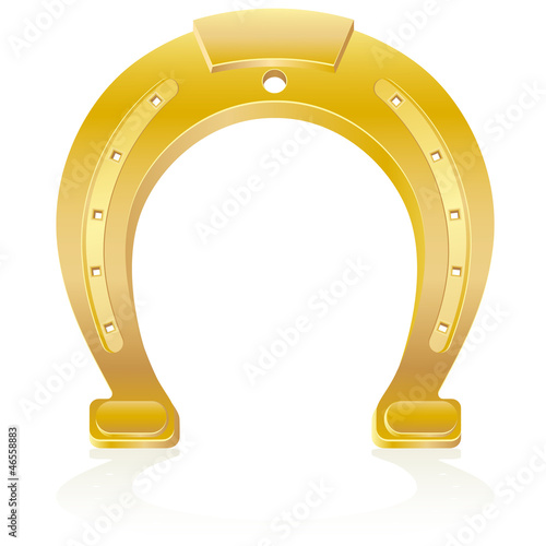 gold horseshoe talisman charm vector illustration