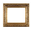Old golden frame on white background