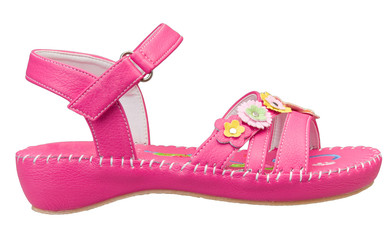 Cute and beautiful girl's sandal in pink color osolated on white