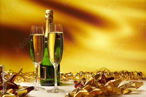 Champagne glasses on celebration table