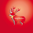 Riendeer peel off from red paper background