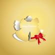 Chrismas bell peel off from gold paper background