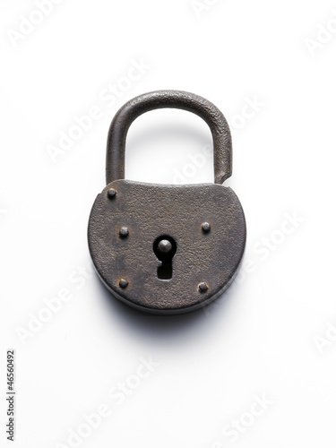 old padlock on white background