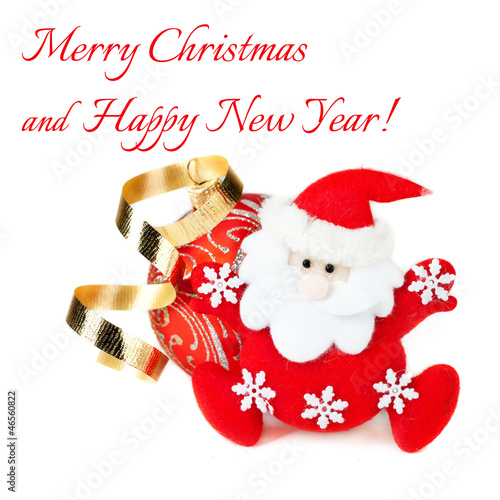 Santa Claus and Christmas red ball on white background