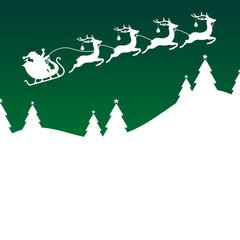 Xmas Card Christmas Sleigh Silent Night Green