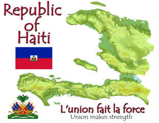 Haiti Caribbean America national emblem map symbol motto