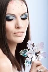 Closeup portrait of beautiful model
