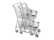 Nested shopping carts. 3D isolated