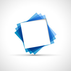 Cover speech in blue square # Vector