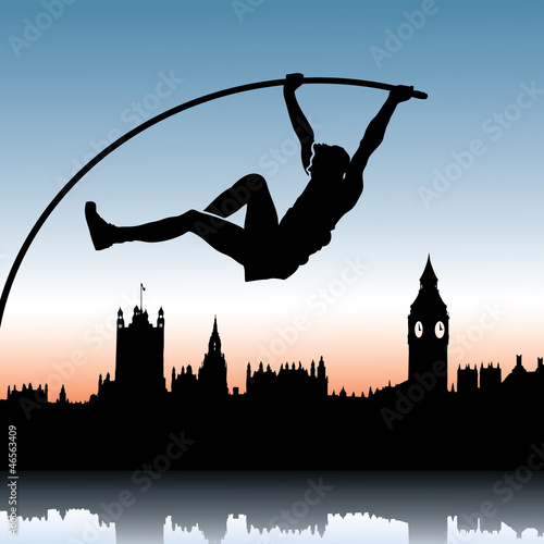 Pole vault over London skyline