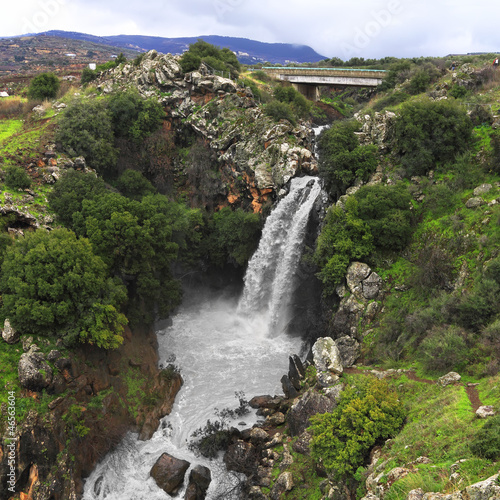 Eagle falls in the winter at the Golan Heights (Israel)