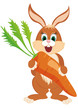 A happy rabbit with a giant carrot