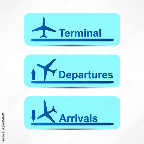 Arrival and departures airport signs isolated over a white backg