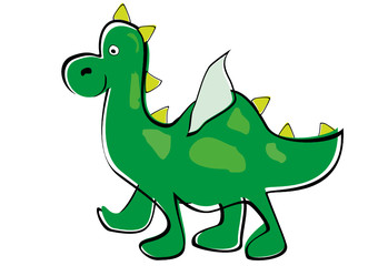 Green dragon. Children's drawing